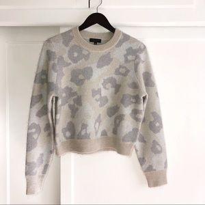 Rag & Bone Leopard Print Cropped Crew Sweater
